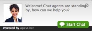 A custom live chat invitation.