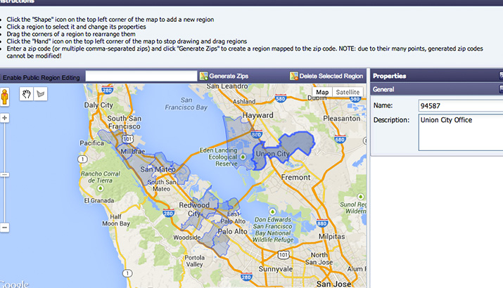 San Francisco live chat integrated with Google Maps.