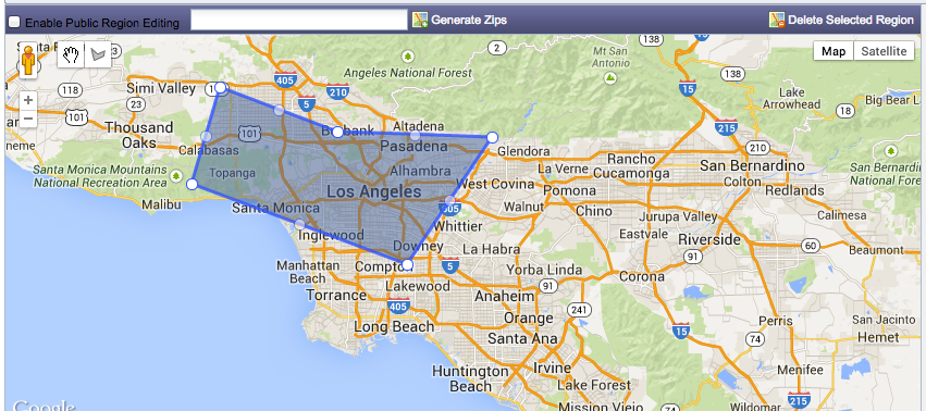 Los Angeles live chat integrated with Google Maps.
