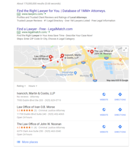 Law firms included in Google's local three pack.